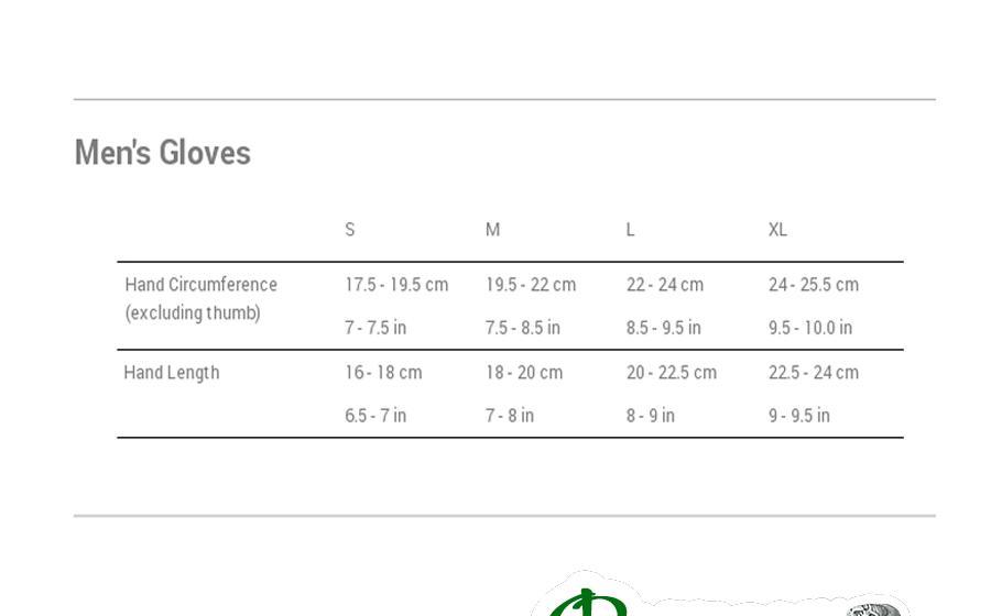 Размеры перчатки Montane SUPER PRISM GLOVE