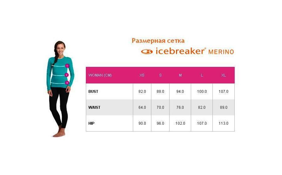 Женское термобелье Icebreaker OASIS LS CREWE размеры