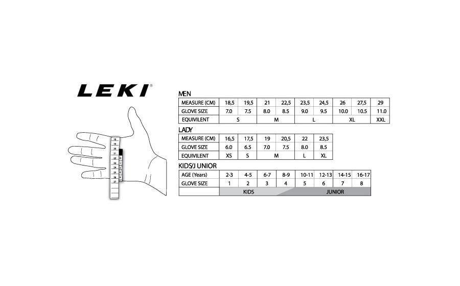 Размеры Перчатки Leki TOUR SHELL black