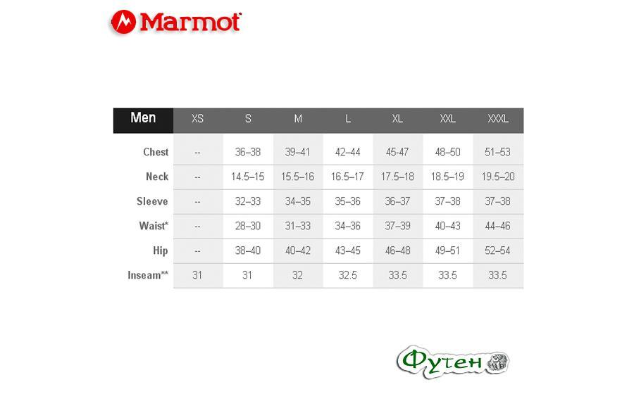 Размеры Рубашка мужская Marmot ELDRIDGE SS