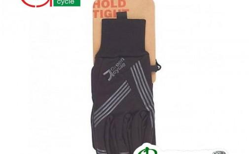 Велоперчатки Green Cycle WindStop с закрытыми пальцами черные