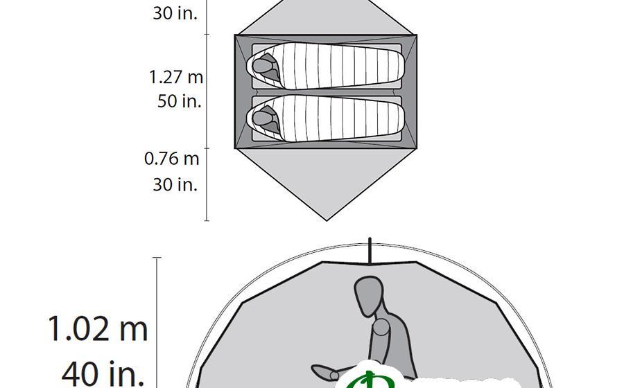 Размеры палатки MSR ELIXIR 2 TENT grey