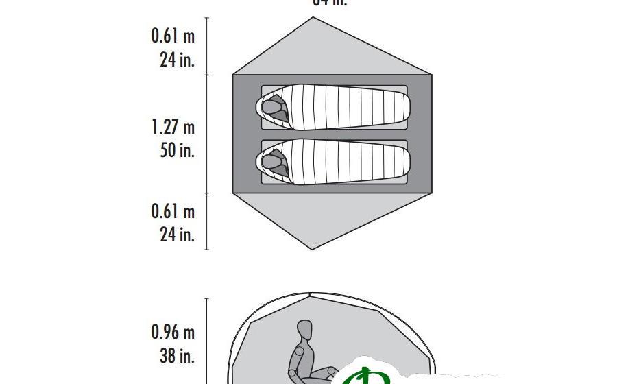 Размеры MSR FREELITE 2 TENT green
