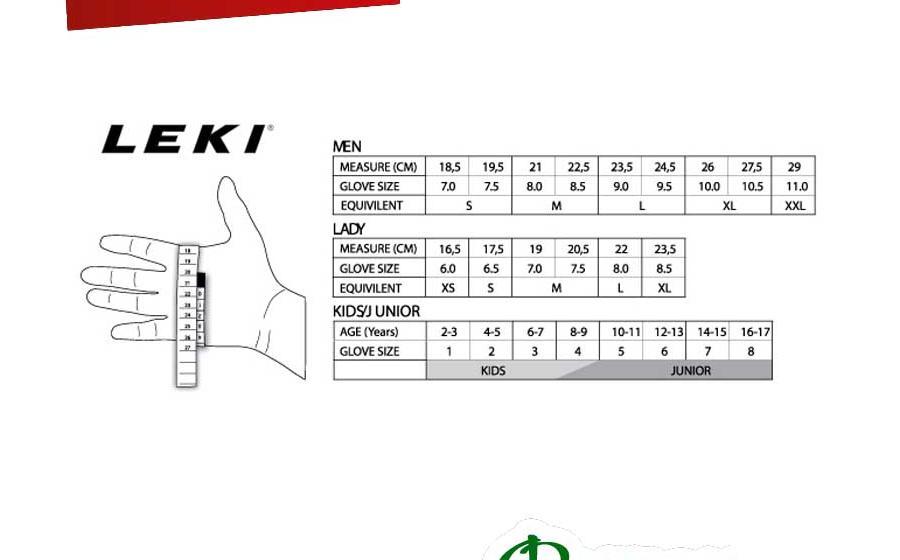 Размеры Leki TRAIL