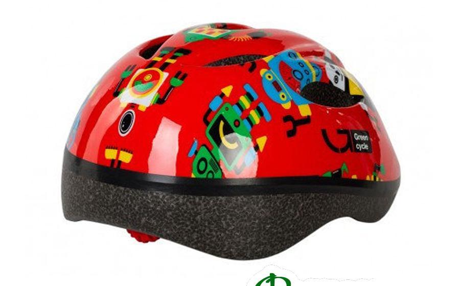 Шлем Green Cycle ROBOTS красный