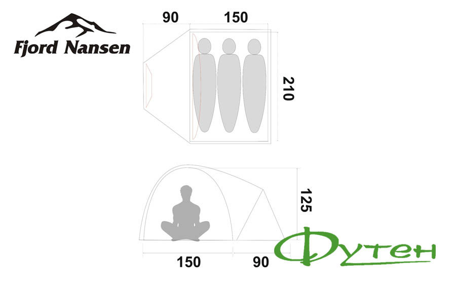Размеры палатки Fjord Nansen ANDY 3