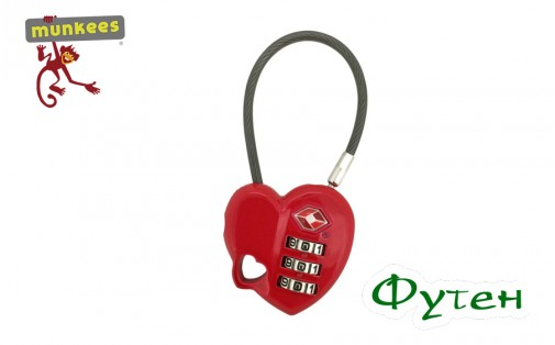 замок Munkees TSA Combi Lock Heart