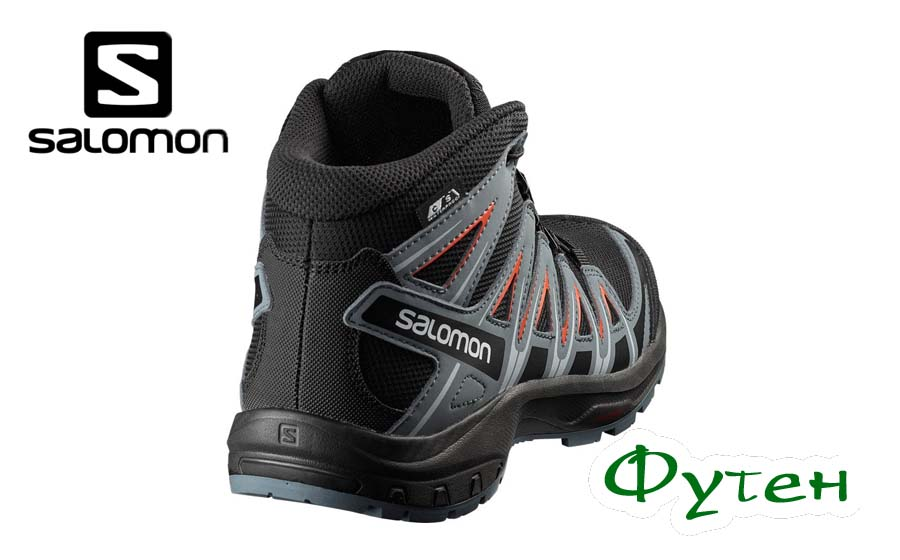 Ботинки детские Salomon XA PRO 3D MID CSWP J black/stormy weather/cherry tomato