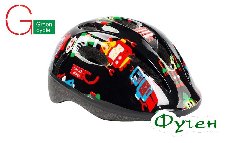 шлем детскийGreen Cycle Robots чёрный
