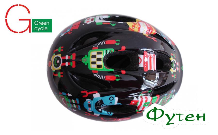 Велосипедный шлем Green Cycle Robots чёрный