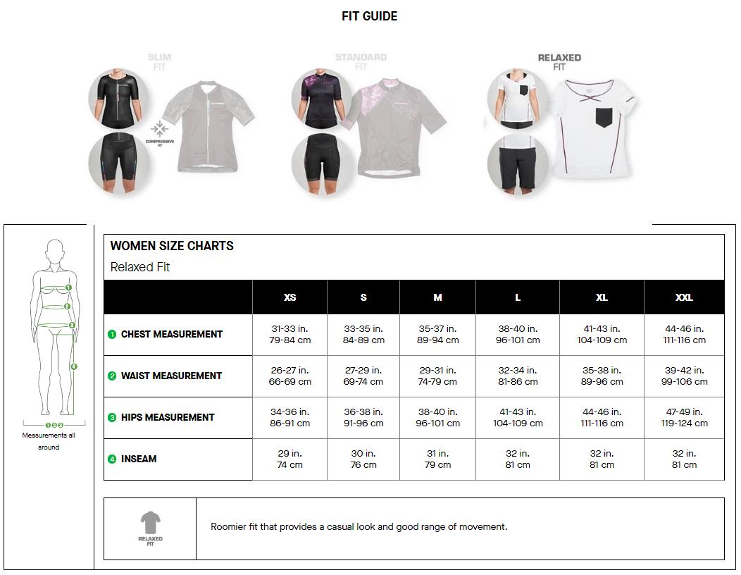 Размерная сетка футболка женская Garneau