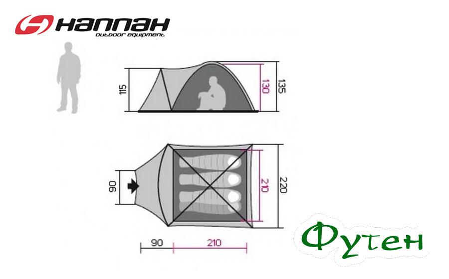 Размеры Палатка HANNAH HOVER 4
