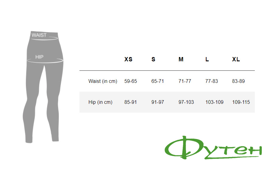 Размерная сетка X-BIONIC Apani 4.0 Merino Pants Women