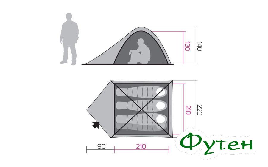 Размеры Палатка для похода Hannah TYCOON 4