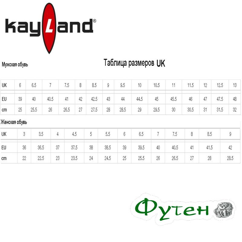 Размерная сетка Ботинки мужские Kayland TROTTER GTX