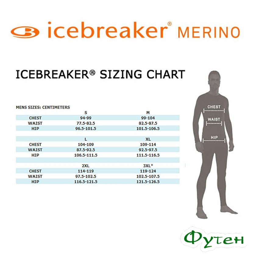 Размерная сетка Icebreaker OASIS LEGGINGS MEN