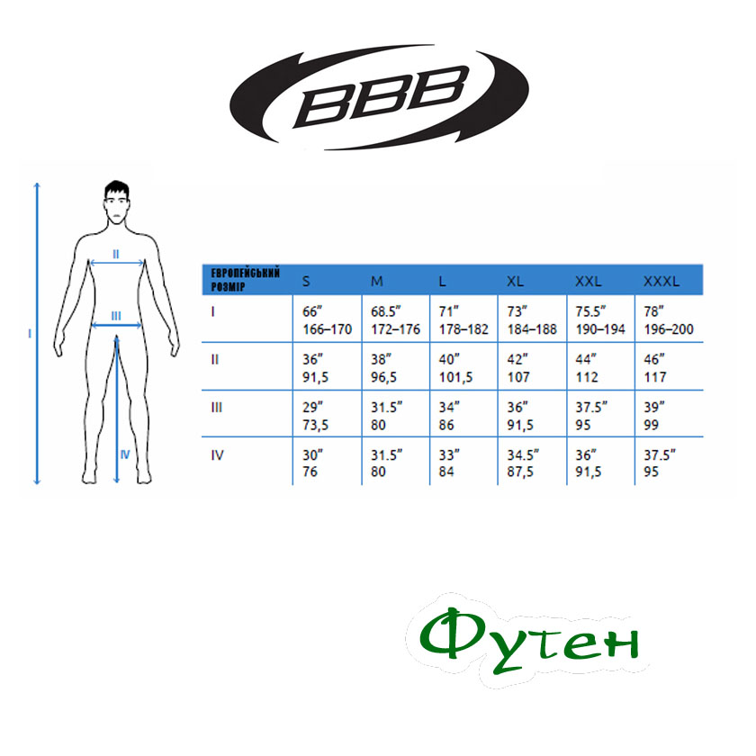 Размерная сетка BBB BBW-261 CONTROLSHIELD winterjacket