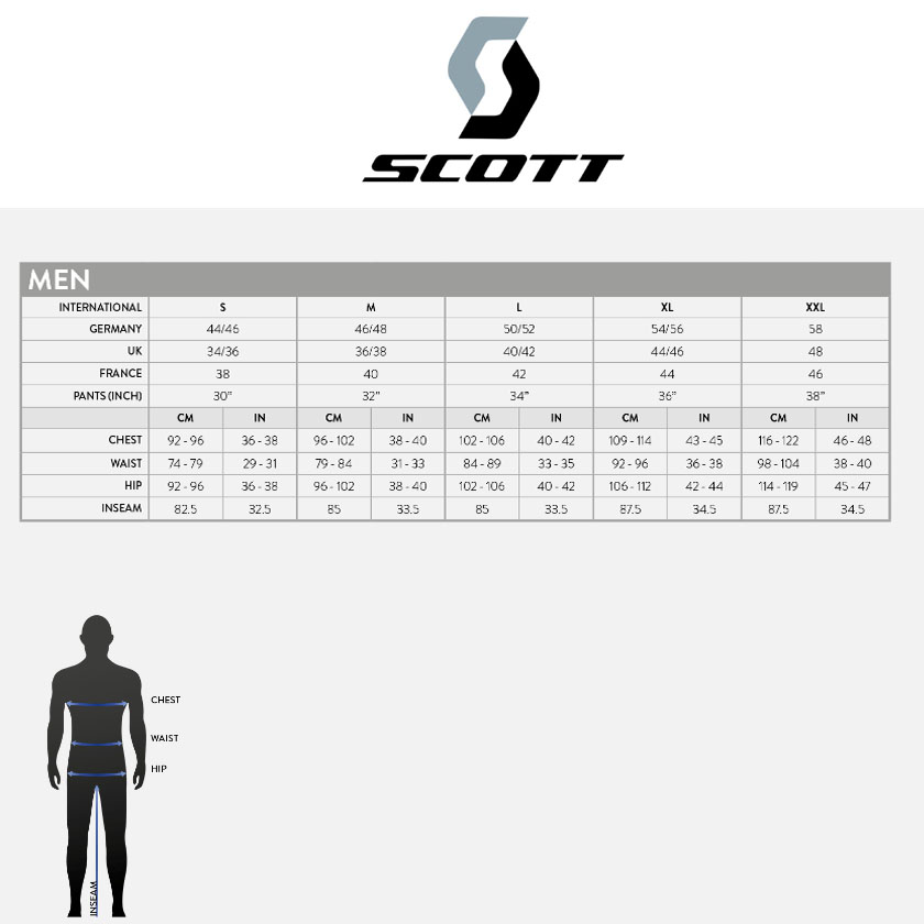Размерная сетка SCOTT INSULOFT HYBRID DOWNCEL Jacket