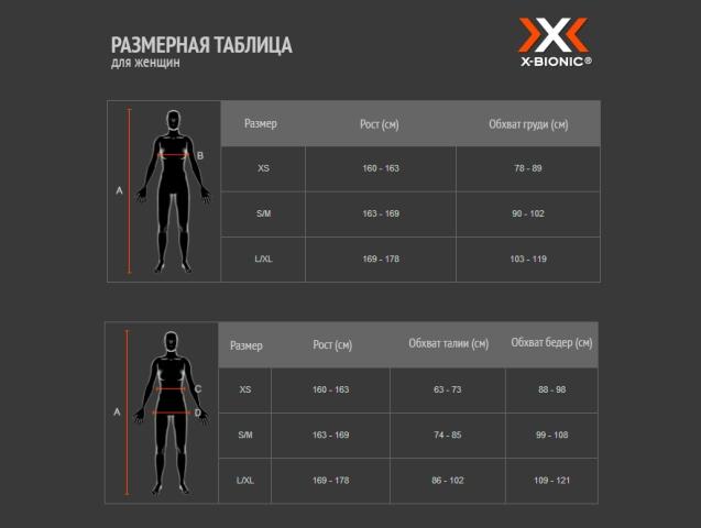Размерная сетка X-BIONIC Invent LD Pants Long